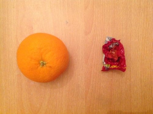 oranges and crisp packets